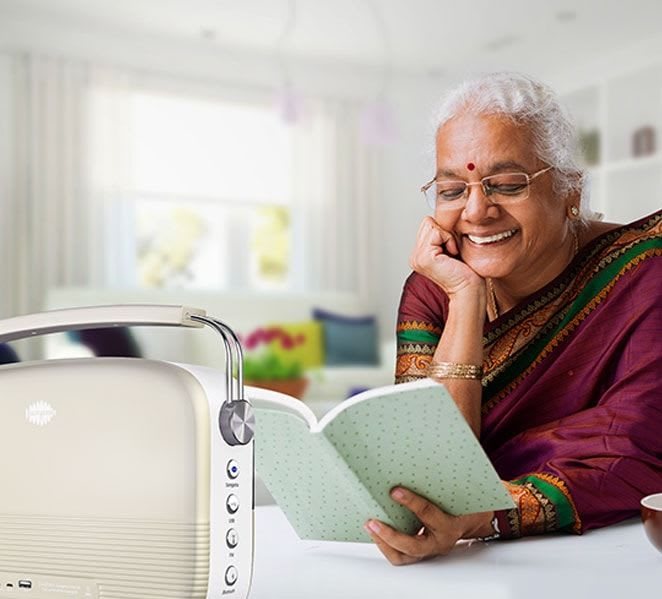 Marathi grand mother with saregama carvaan
