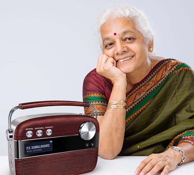 grandmother with saregama carvaan tamil